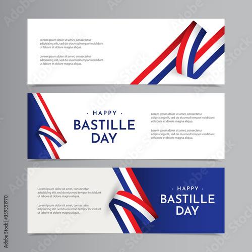 Fototapeta Happy Bastille Day Celebration Vector Template Design Illustration
