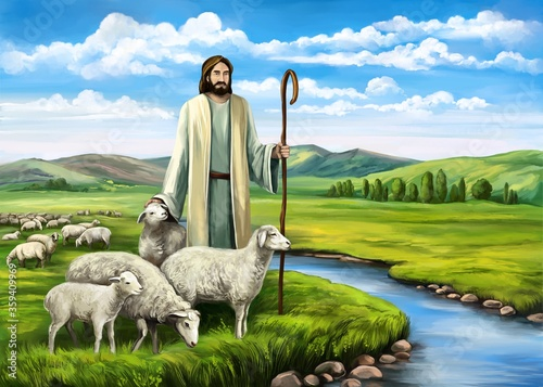 Son of God, the Lord is my shepherd, Jesus Christ with a flock of sheep, symbol Fototapeta