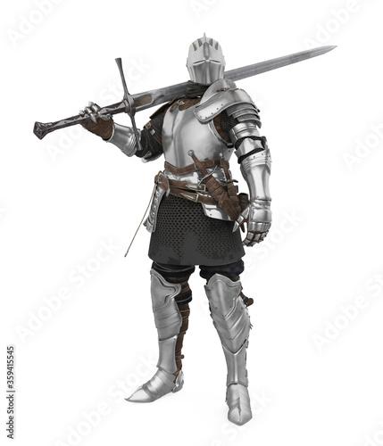 Fotografia, Obraz Medieval Knight Armor Isolated