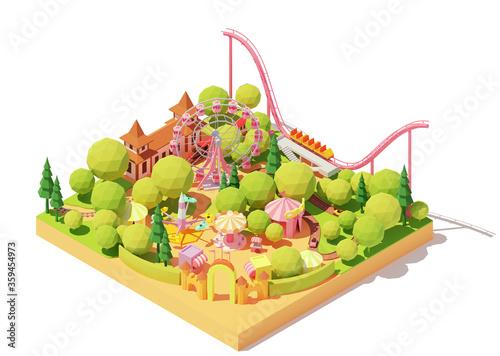 Fotografia Vector isometric amusement park map