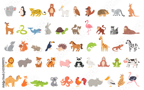Fototapeta premium Cute animal set with farm and wild character. Cat and lion, elephant