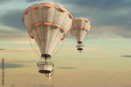 Carta da parati Old vintage hot air balloons in the sky, 3d render.
