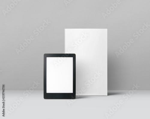 E-Book Reader and Book Mockup Fototapeta