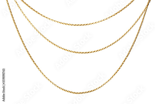 Canvas Print Fragment of a yellow metal chain on a white background. Isolated