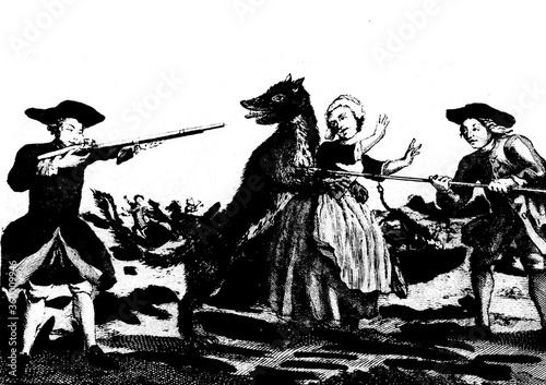 Foto gravure ancienne du XVIII siècle montrant la bête du gévaudan attaquant une jeun