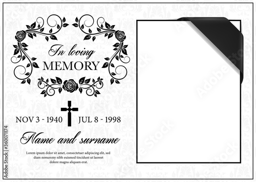 Canvas Funeral card vector template, vintage condolence flower ornament with cross, place for photo with black ribbon in corner, name, birth and death dates