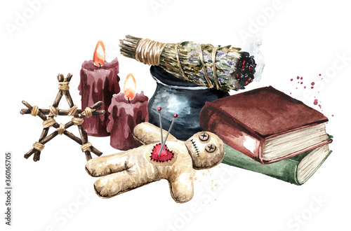 Wallpaper Mural Bunches of aromatic herbs for fumigation, voodoo doll, candles and old books
