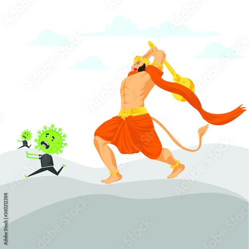 Fotografia Hanumanji Killing corona With Gada, Hanuman Jayanti