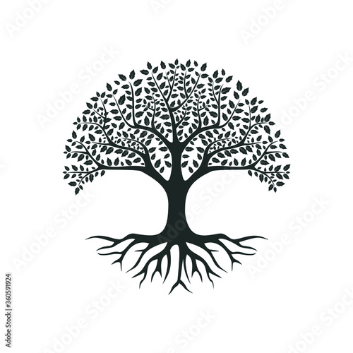 vector black tree of live icon on white background