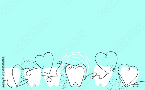 Canvas Print Creative Vector Seamless Pattern with Teeth and Hearts