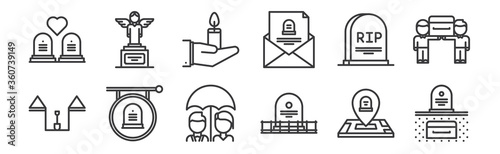 Valokuva 12 set of linear funeral icons