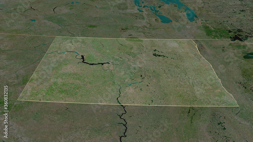 Fotografie, Tablou North Dakota, United States - outlined. Satellite