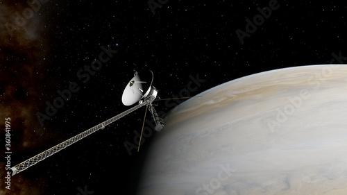 Obraz na plátne Voyager satellite in deep space, artificial satellite in space, Voyager abroad t