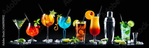 Set of various cocktails with on black background Fototapeta