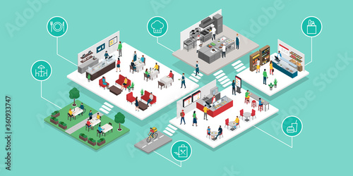 Food and restaurants industry isometric infographic