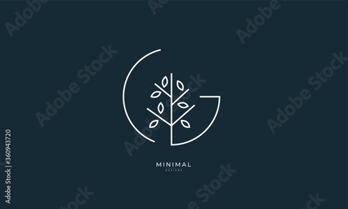 Alphabet letter icon logo G with a tree