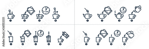 Fotografía Tea, coffee making, brew process icons. Hot drink brew