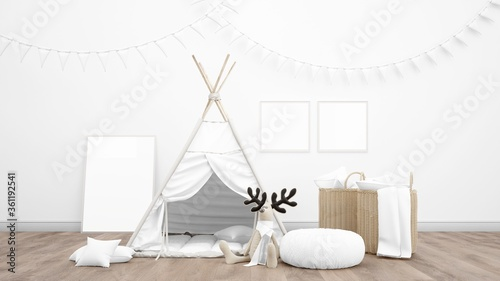 Fotografia 3D rendering of a kid's teepee tent in a room