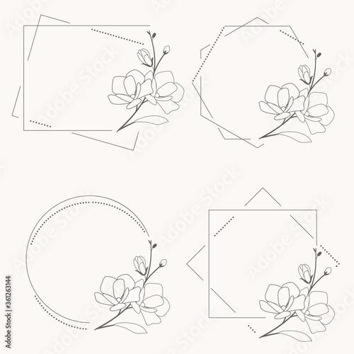 Stampa su Tela doodle line art magnolia blooming flower minimal frame for banner or logo collec