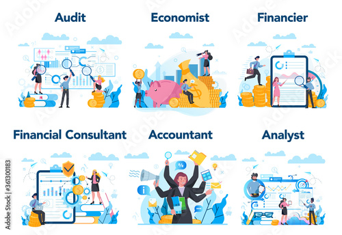 Photo Financial or business profession set. Business character making
