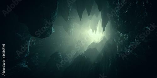 Murais de parede light in dark cave with stalactites 3d illustration