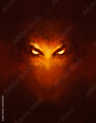Photo the face of a demon with glowing eyes, in the dark - a painting