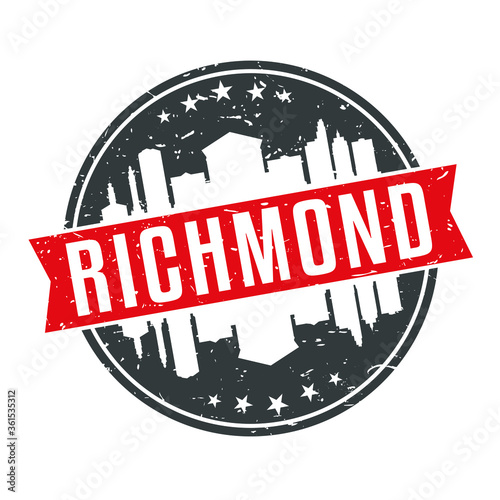 Carta da parati Richmond Virginia Round Travel Stamp Icon Skyline City Design.
