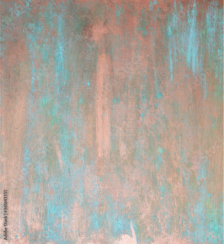 Fotografie, Tablou The texture of the copper background is covered with a patina