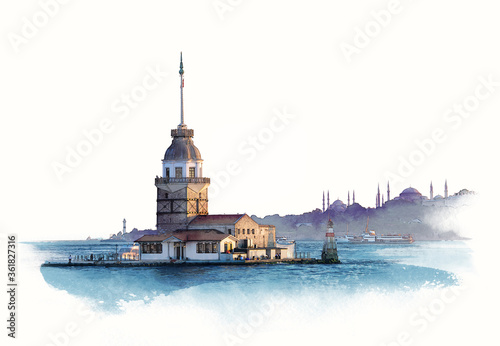 Billede på lærred Maiden tower at dawn in Istanbul, Turkey