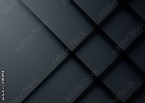 Fényképezés Black geometric vector background, can be used for cover design, poster, adverti
