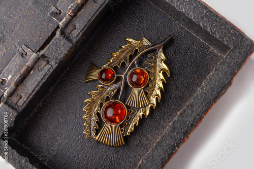 Canvas Handmade ethnic metal brooch with artificial stones in antique metallic vintage casket on white background