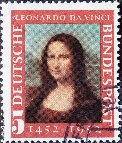 Fotografie, Obraz GERMANY - CIRCA 1952: a postage stamp printed in Germany showing an image of Mona Lisa painted by Leonardo Da Vincin, circa 1952