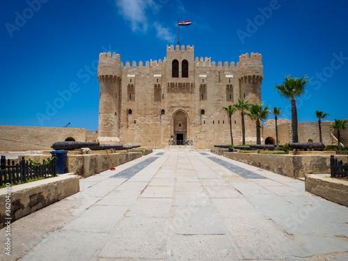 Fotografia, Obraz the front of the quaitbay citadel in Alexandria in corona times with no too few