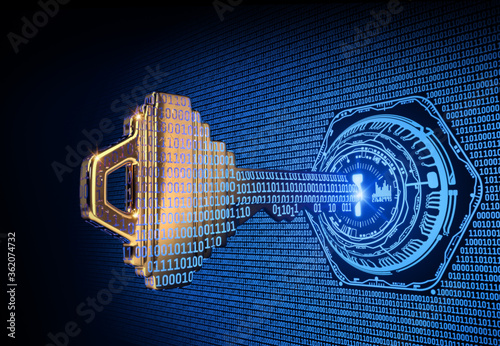 Fotografia A Cybersecurity Concept Illustration; A Key Formed from Binary Code Goes Into an