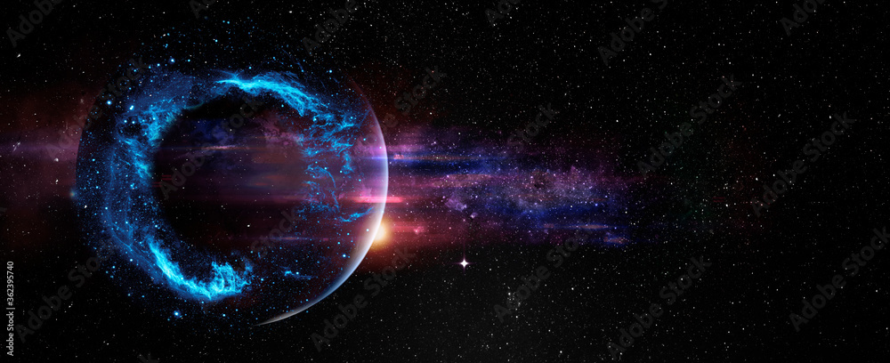 Black hole over star field in outer space, abstract space wallpaper with form of letter O and sparks of light with copy space. Elements of this image furnished by NASA.