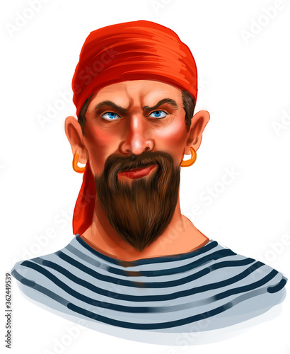 Obraz na plátně Serious looking pirate. Digital illustration