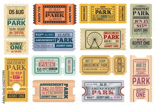 Valokuva Tickets to amusement park, funfair carnival vector vintage admit coupons