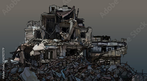 Fotografija dilapidated three story building in piles of destroyed bricks