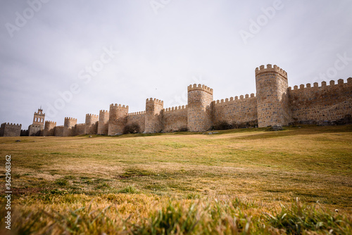 View Of Fort Of The Medieval Wall Un Ávila On Field Against Sky