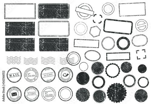 Valokuvatapetti Stamps frames vector icon shape set