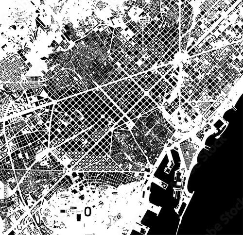 Fototapeta map of the city center of Barcelona, Spain