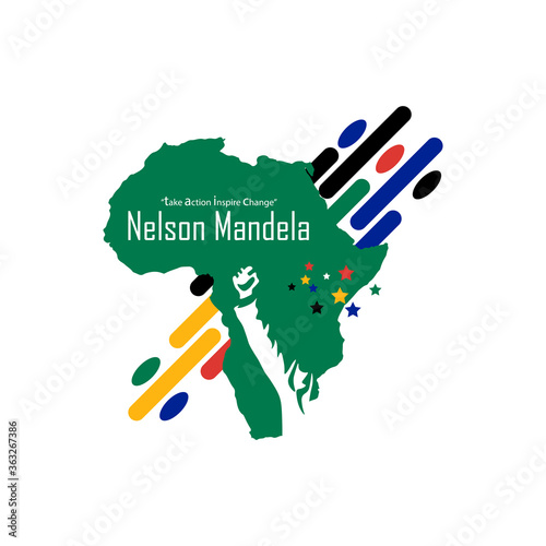 Photo 8TH OF JULY: STANDING HAND POSE OF NELSON MANDELA ON SOUTH AFRICA MAP ON BLACK BACKGROUND