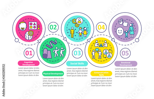 Children preschool education tasks vector infographic template. Presentation design elements. Data visualization with 5 steps. Process timeline chart. Workflow layout with linear icons