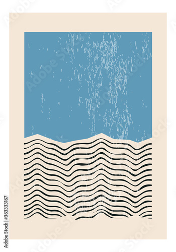 Wallpaper Mural Minimal 20s geometric design poster, vector template with primitive shapes eleme