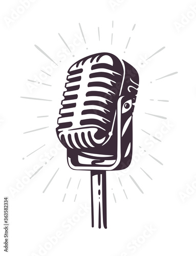 retro microphone with ray sketch style Fototapeta