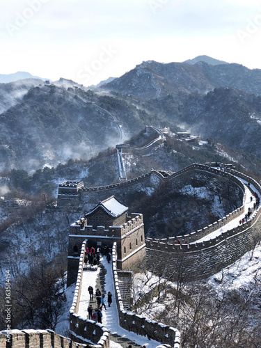 Fototapeta Aerial View Of Great Wall Of China During Winter Against Sky