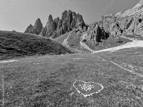 Fototapeta Scenic View Over A Mountain Range In The Dolomites, Direction Sass Rigais, South