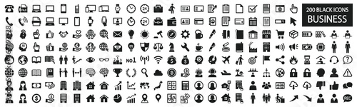 Simple black and white icon set for business