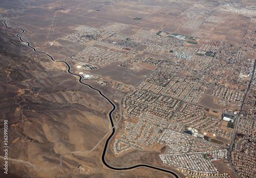 Canvastavla Aerial of the California aqueduct winding past Palmdale California