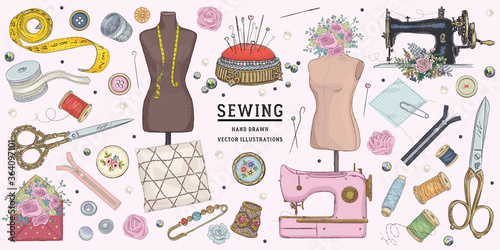 Obraz na plátne Vector hand drawn sewing retro set